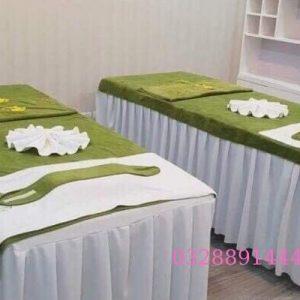 Khăn trải giường màu xanh lá cây