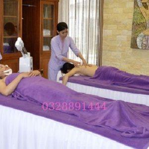Khăn trải giường Spa màu tím thêu logo