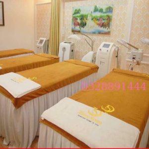Bộ khăn trải giường Spa màu da bò